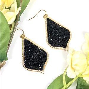 """2"""" Black Crystal teardrop Earring Gold"""
